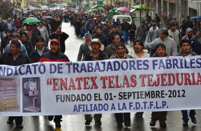 Foto archivo: Trabajadores de Enatex rechazan el cierre e inician movilizaciones
