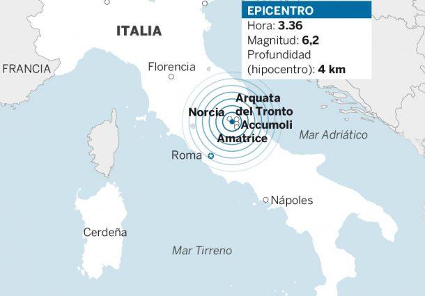 Terremoto en Italia deja al menos 63 muertos