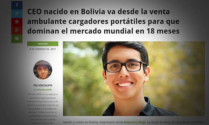 Alejandro Rioja, boliviano, vendedor ambulante de cargadores portátiles que ingresa al mercado mundial