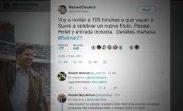 """Claure invita a 100 hinchas a """"celebrar un nuevo título"""" en Sucre"""