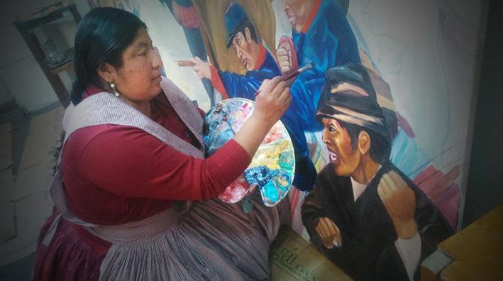 Sofía Chipana inmortaliza en lienzo la batalla en que Bolivia le ganó a Chile