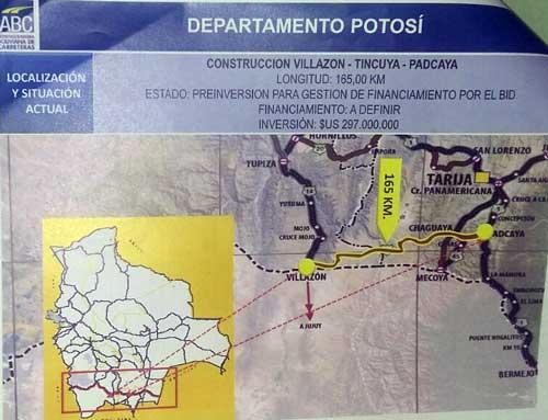 Autoridades inspeccionan ruta de Tarija – Villazón para promover el asfaltado de 34 kilómetros