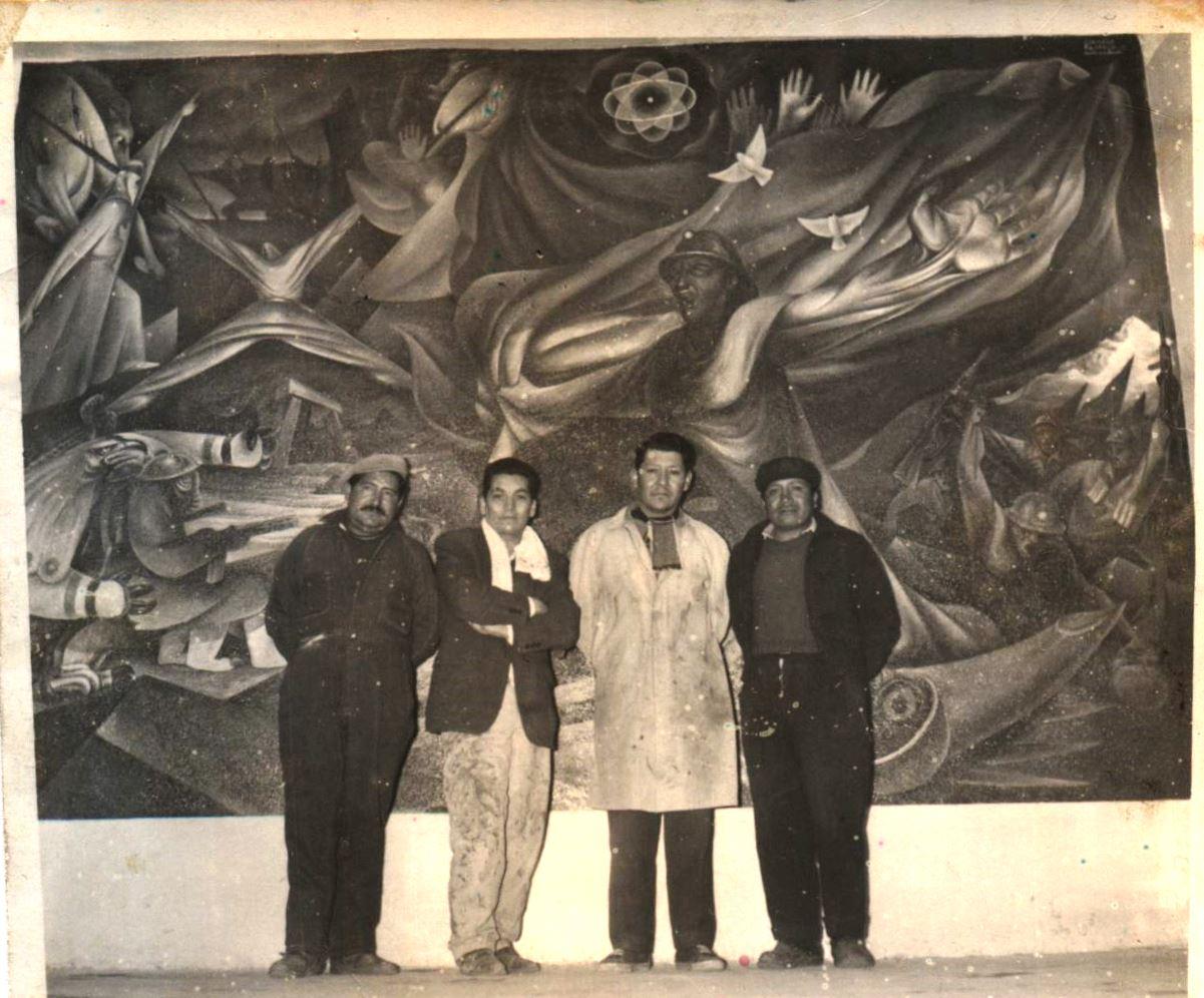 Reconstruyen mural de Miguel Alandia Pantoja descubierto en la mina Milluni de El Alto