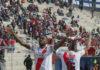 Marc Enoumba celebra el tercer gol de Always Ready