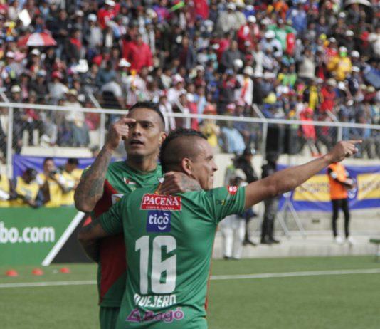 William Ferreira y Marcos Ovejero celebran el tercer gol del partido. Foto: Agencia Prismo