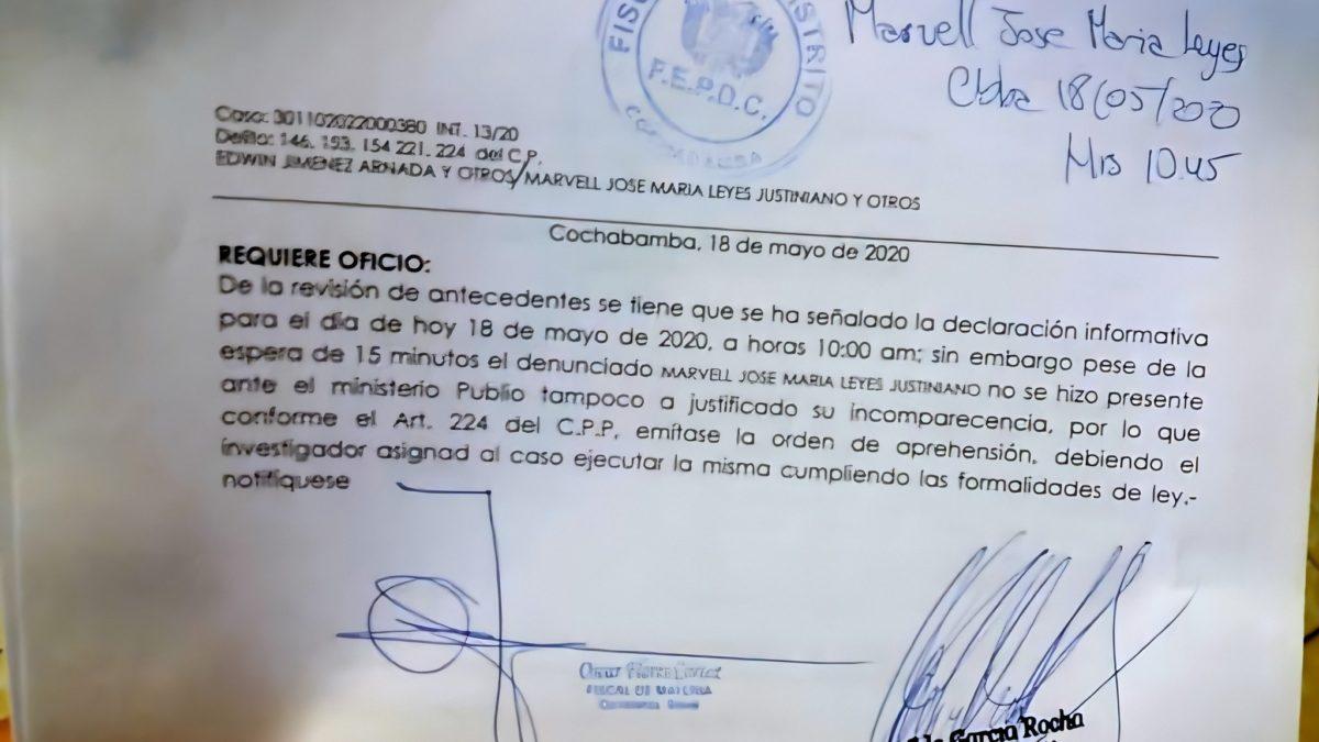 Fiscalía emite orden de aprehensión contra el alcalde de Cochabamba, José María Leyes